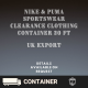 Wholesale Nike/Puma Sportswear Clearance Clothing Container 20 ft
